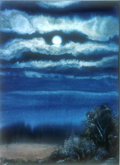 Ryder Moon ©1981 dedree drees watercolor